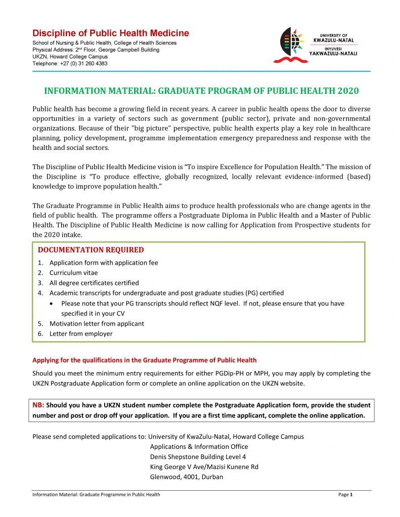 Discipline of Public Health Medicine – University of KwaZulu